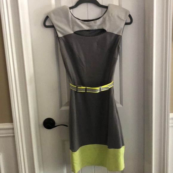 bebe Dresses & Skirts - Bebe dress grey with yellow size XS